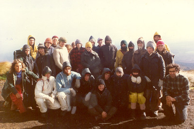 1979 School Trip to Tongariro area, Central North Island. Me in the Blue Rain Jacket at the front of the photo.