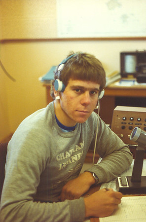 At work at Chatham Islands Radio around 1981/1982 aged 19 or 20.