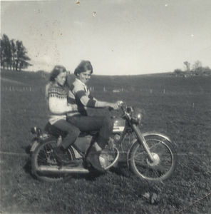Me and Theresa (my sister) hooning around on one of the farm motorbikes on the farm at Hexton (approx 1972 -74?) The pinetrees in the left hand side of this photo are also included in photos I took when Dana and I visited the farm in January and September 2005!