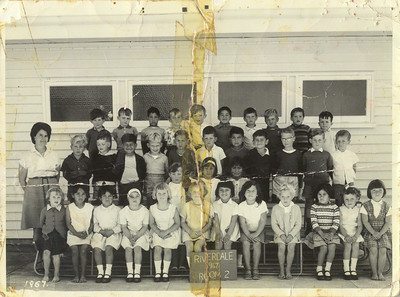 Riverdale School, Gisborne 1967.  My first ever school photo - I am standing next to the School Teacher.