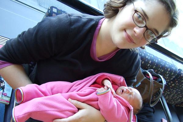 Smiling mommy. Sleeping Anya.