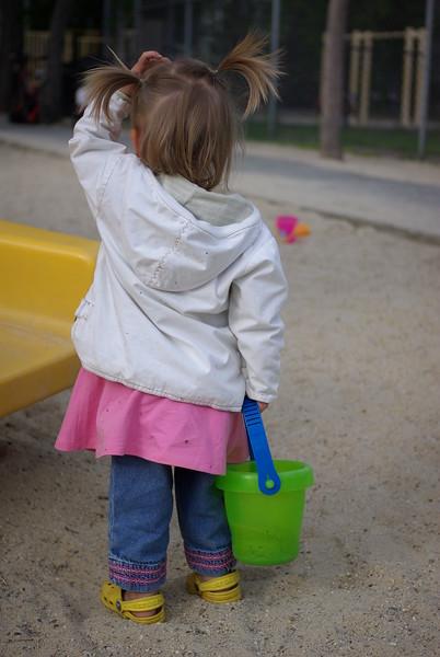 Girl with bucket.