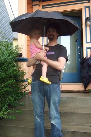 Anya and Matthew in the rain.