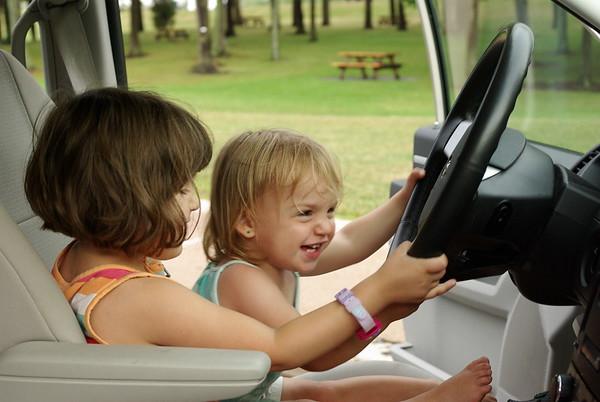 Anya and Guen drive the van.