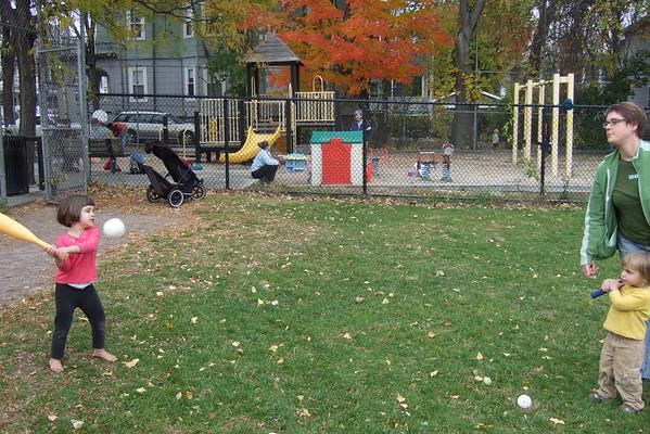 Baseball at the yellow park.