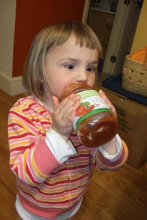 Anya <i>drinks</i> chipotle salsa.