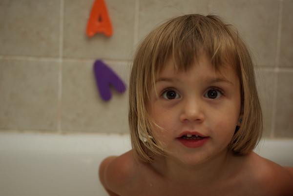 Anya in the bathtub.