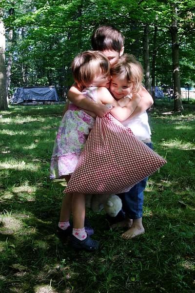 Cousin hugs.