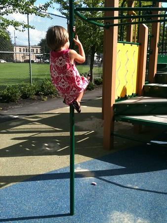 Anya climbs up.