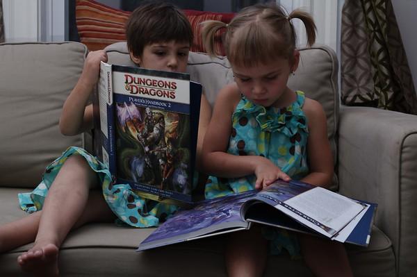 Comparing D&D books.