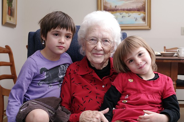 The girls with Grandma Guengerich