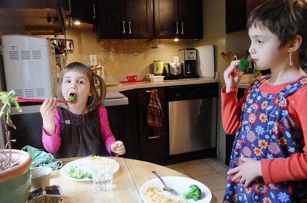 Broccoli with chopsticks.