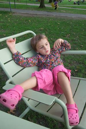 Anya lounges in Harvard Yard.