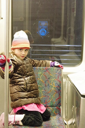 Anya on the train.