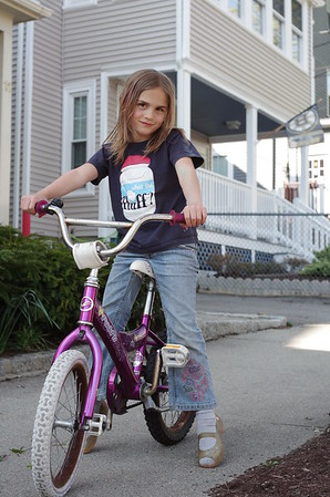 Anya on her bike.