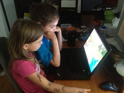 Watching Minecraft videos.