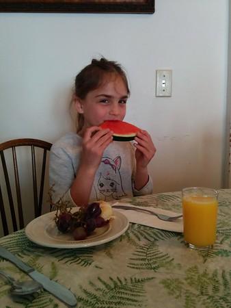Watermelon for breakfast.