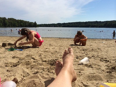 Karen's toes on Sandy Beach.