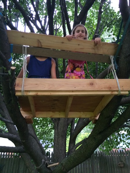 Treehouse by Grandpa. (Guen is hiding).
