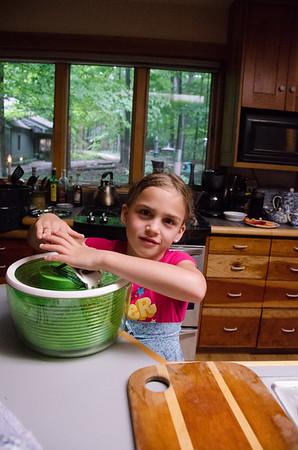 Salad spinning.
