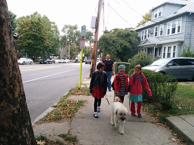 Walking Sadie to school.