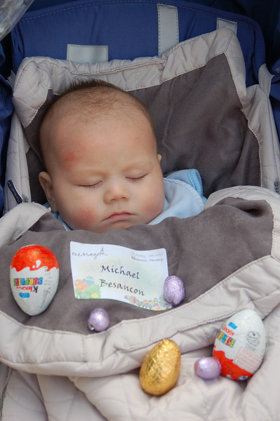 Michael's First Easter Egg Hunt and he's asleep.<br /> He did find quite a few eggs.  Way to go, caveboy.
