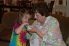 Claire trying a little bit of Nana's lotion.