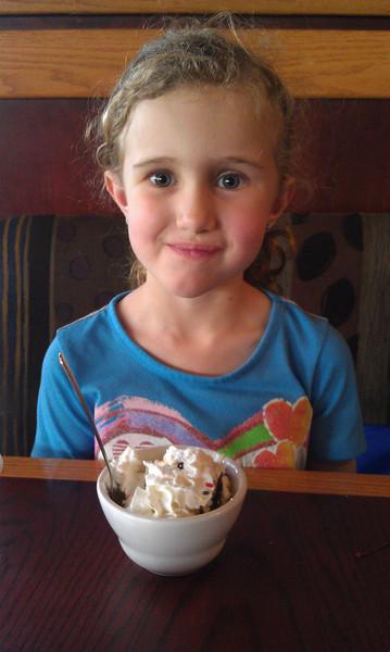 Celebrating ears with an ice cream sundae!