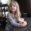 Lena celebrating signing up for Kindergarten with a smoothie at Tumalo Coffeehouse!