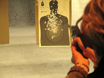 Joel's mum, Arlene, at the shooting range