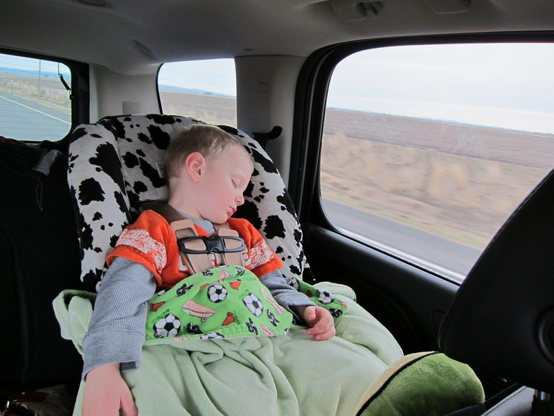 3 hour nap on the drive home...the farm done wore this cowboy out.