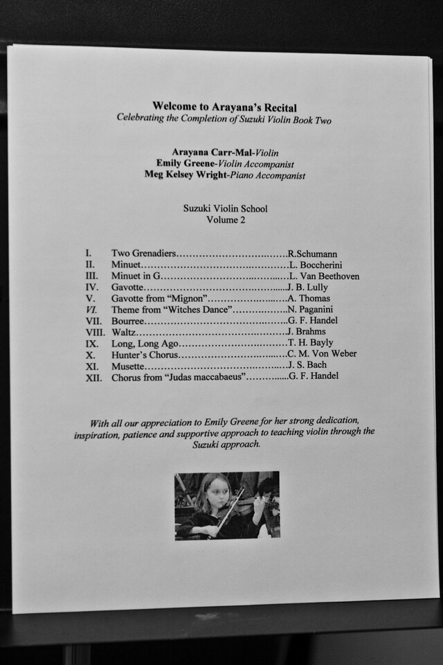 Program from Arayana's Book Two recital.