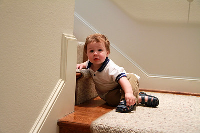 Luke resting on the staircase 3-24-12.