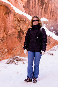 Helen is ready for a hike in Devil's Garden, Arches NP.