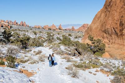 Hiking Devil's Garden in the snow.