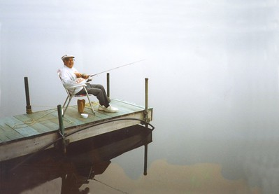 joe fishing on peer