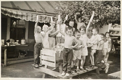 1950s probably 1956, a Scoglio Family gathering at Dominic Minisalli's camp on Eden Glen Road.