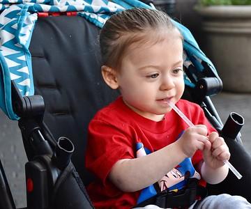 Ariella & Isabel Eating Pancakes & Egg custard-5/2/18