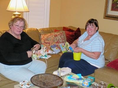 Gloria and Mary Ann prepare a game