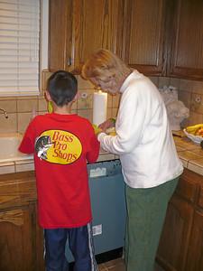 Kyle and Mom make the salad