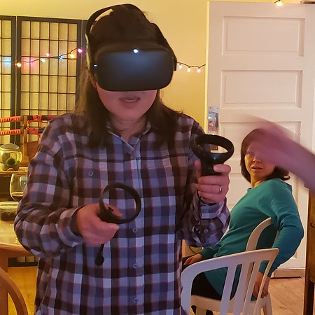 Chiyoko enjoying some Virtual Reality Fun ☺
