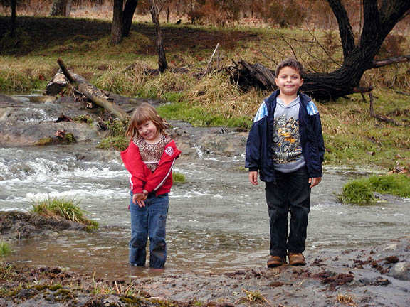 Emily and Hunter, my niece and nephew.  Standing in the creek on Sam's farm in Va.  This creek is in a cow pasture and runs on down to form the drops of Cypress Falls.  This was Emily's first hike and Hunter's  2nd.  It is part hike/ part bushwhack.