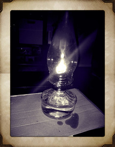 Lamp given to us by Grandma J provides light when we loose power