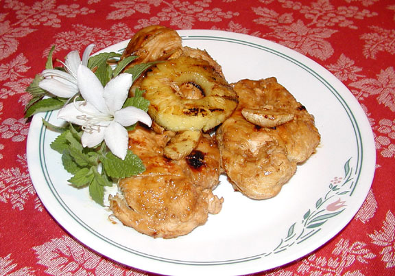 Pineapple Ginger Grilled Chicken-- A yummy invention from Mombo's kitchen!