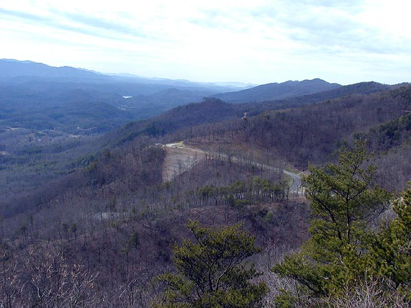 Scar from coming development on Flats Road from Look Rock