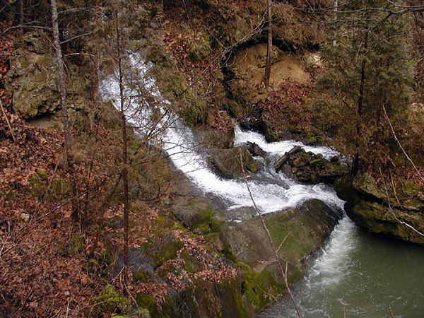 Lower Cypress Falls a 25 ft drop over travertine. <br /> Located in Rockbridge Co. Va.