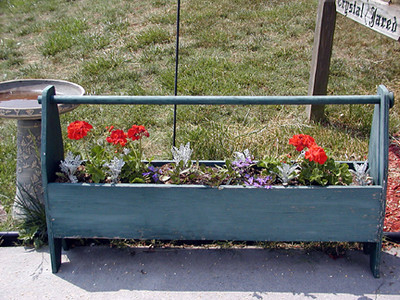 Grandaddy's carpenters box planted with red geraniums , blue scaveola, and silver dusty miller.