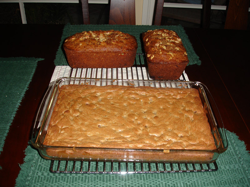 Pam baked two loaves of banana bread and Chelsea baked chocolate bars. Yum!