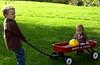Xavier & Yvie with wagon