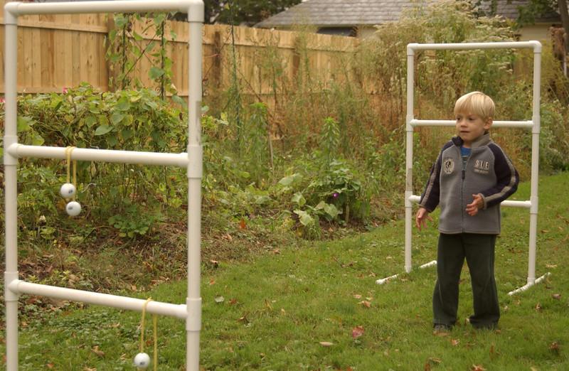 Logan playing ladder golf